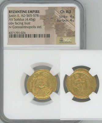 ANCIENT BYZANTINE EMPIRE gold solidus Justin II  NGC CHOICE AU