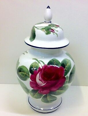 """Wemyss """"Red Cabbage Rose"""" Pattern Vase & Cover A/F."""