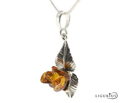 NATURAL BALTIC AMBER STERLING SILVER 925 PENDANT Rose CHAIN NECKLACE Certified