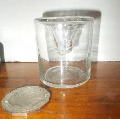 old Ink well, round inverted conical stretched clear glass,crude,exc