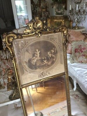 Antique Trumeau Cherubs Barbola Roses French Print Frame Wood Old Vtg