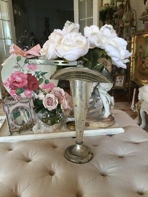ANTIQUE Vtg Bridal basket Silverplate Tall Vase With Flowers Valentine Display
