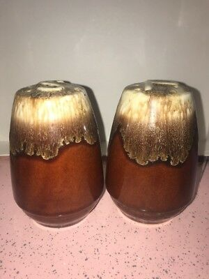 McCoy Kathy Kale Brown Drip Pottery Salt And Pepper Shakers