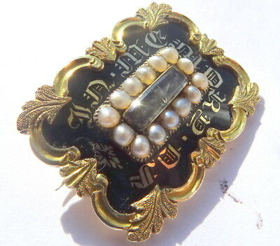 William 1V Gold Enamel And Pearl Mourning Brooch-Inscribed 1832