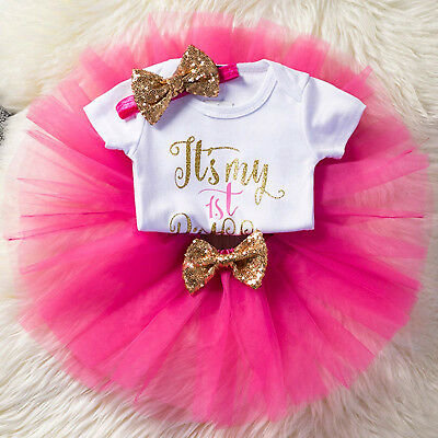 It's My 1st Birthday Baby Girl Tutu Party Dress Cake Smash Outfit Clothes Set