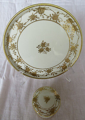 VTG Hand Painted Nippon Porcelain Tea Set Gold Floral Sugar Lidded Tray Plate