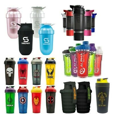 Huge Range of Gym Protein Shaker Bottles - Variety of Sizes, Brands and Colours