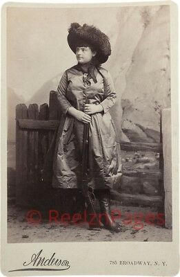 New Art Print Of c.1880 Photo Real Cowgirl With Rifle WIld West 8 1/2 X11