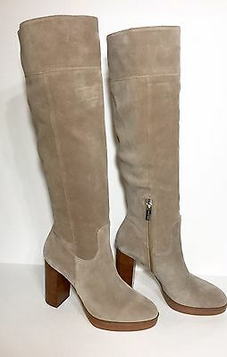 69c89fc61f9 New  250 Michael Kors Regina Platform Dark Khaki Suede Knee High Women  S  Boots