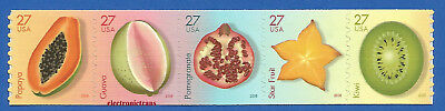 US 4258 - 62 Tropical Fruit Strip of 5 Coil Stamps Mint Never Hinged 4258 - 4262
