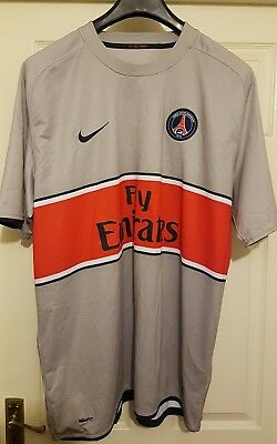 Paris Saint Germain Grey Red Football Jersey Fly Emirates Size 2XL VGC Nike PSG
