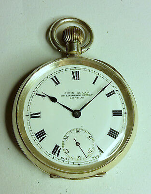 Antique Engine Turned Silver Keyless Open Faced Pocket Watch 1914 - Serviced