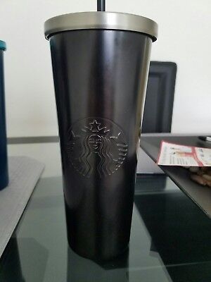 Brand New Starbucks 2017 Matte Black Stainless Steel Cold Cup/tumbler 24Oz