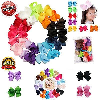 Hair Bows 16 Lot Bow Tie Ribbon 6 Inch Girls Kids Baby Girl Alligator Clips Ties