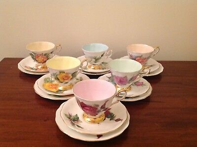 Harry Wheatcroft Standard 6 X Tea Cup, Saucer and plate set World Famous Roses
