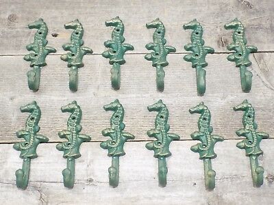 12 Cast Iron Antique Style SEAHORSE Coat Hooks Hat Hook Rack Bath Nautical !!!!