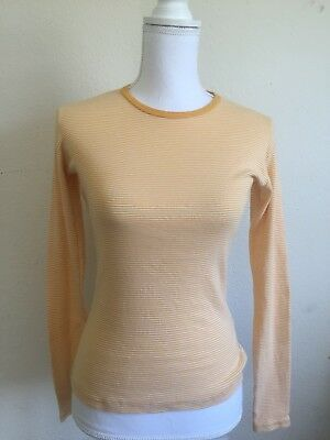 9e5fb59cd3 brandy melville yellow/white stripe crewneck fitted long sleeve top NWT sz S