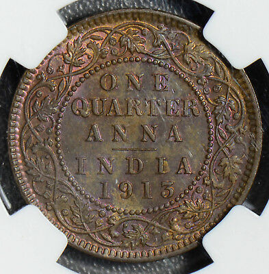 British India 1913 C 1/4 Anna NGC MS63BN nice purple toning! Calcutta min NG0393