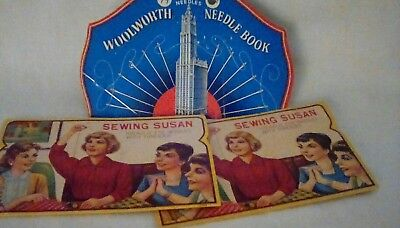 3 Vintage Needle books. Woolworths and 2 Sewing Susan.
