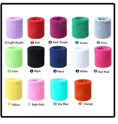 2 x Sports Wrist Sweat bands Tennis Gym Fitness Exercise Wrist bands Sweatbands