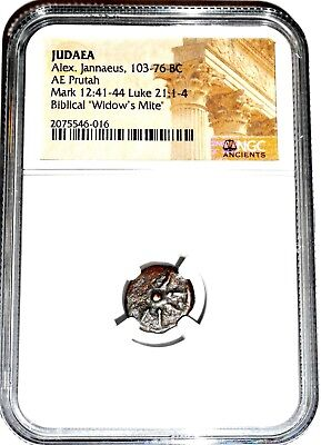 Widows Mite Judean Lepton Of Alex Janeaus, NGC 103-76 BC Very Detailed Coin,Nice