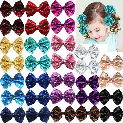 "30 Pack Bling Sparkly Sequin 4"" Bows Nylon Ribbon Hair Clips for Party Gril Kids"