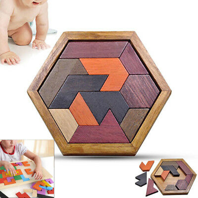Wooden IQ Game Jigsaw Intelligent Tangram Teaser Puzzle Kid Adults Educational