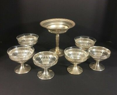 Vintage Sterling Compote and 6 Shrimp/Dessert Dishes with Inserts National
