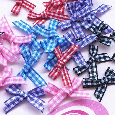 20/60/100pcs Mini Plaids Satin Ribbon Flowers Check Bows Wedding Decoration