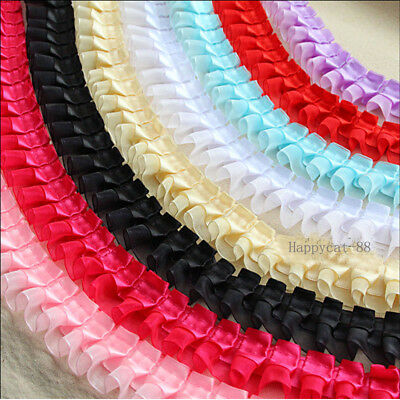 1,3,5 yards Organza Lace Gathered Pleated Sequined Wedding Trim 55mm