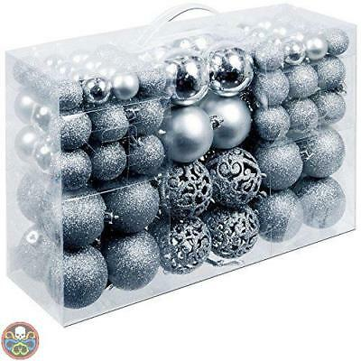 Unbekannt Tg: 100X Argento Christmas Gifts Palle Di Natale In Plastica Nuovo