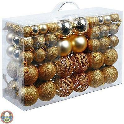 Unbekannt Tg: 100X Gold Christmas Gifts Palle Di Natale In Plastica Nuovo