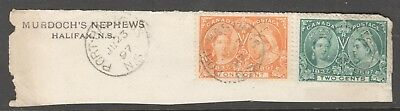Port Hastings Ns Ju 23 97 Cds Cancel On 1 And 2 Cent Jubilee #51 #52 On Piece