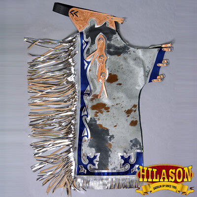 Ch144-F Hilason Bull Riding Light Natural Hair On Leather Rodeo Chaps
