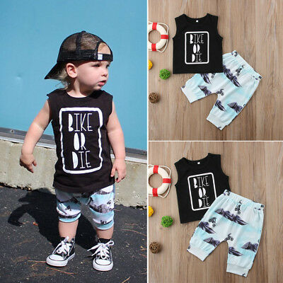 2pcs Baby Boy T-shirt Top+Pants Shorts Outfit Newborn Kids Summer Clothes Set US