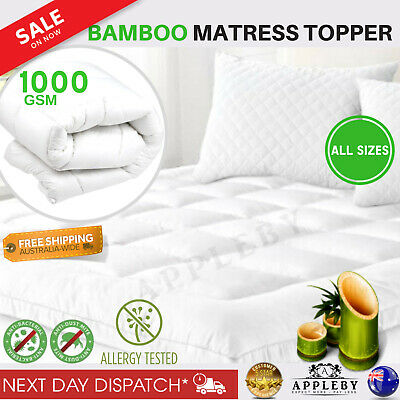 Bamboo Mattress Topper Pillowtop Microfibre Hygiene Anti Allergy Toper Matress