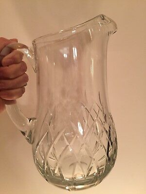 "Block Crystal Pitcher Diamond Cut Criss-Cross Glass Pattern 9.5""T Marked On Base"