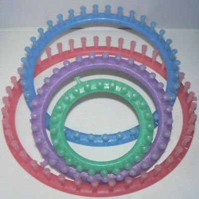 Knitting Looms ~ Set of 4 Rings ~ Includes Yarn Needle and Loom Pick
