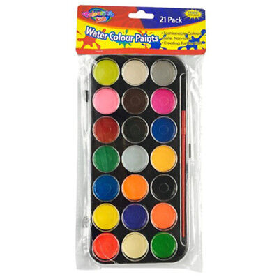 Art Box 21 Water Color Paints n Brush Kids Art Craft Paint Set Watercolours