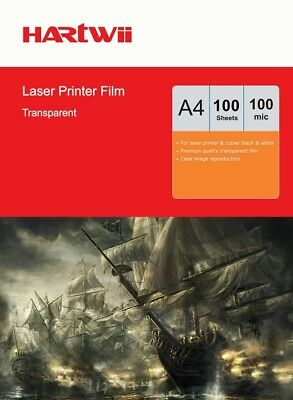 100 Sheets A4 Overhead Projector OHP Film Clear  For Laser Printer AU Hartwii