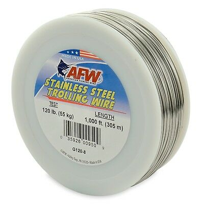 (90m, 27kg Test, Bright) - American Fishing Wire Stainless Steel Trolling Wire