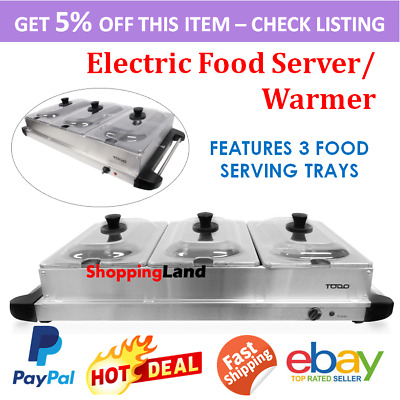 New Electric Buffet Food Warmer Portable Stainless Steel Container Tray Display