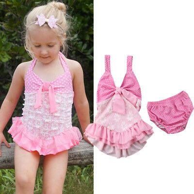 2Pcs Toddler Baby Girl Bowknot Swimwear Swimsuit Bathing Suit Swimming Clothes