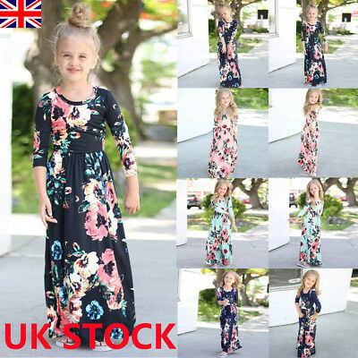 d3ac0647f4712 Kids Girl Long Sleeve Floral Maxi Boho Dress Infant Outfit Holiday Party  Dresses
