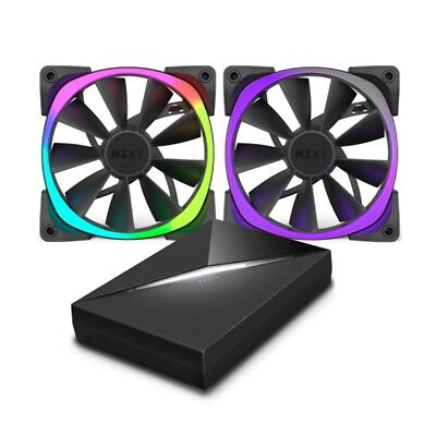 NEW NZXT 140mm Aer RGB PWM Fan (Max 1500RPM) 2 Pack With HUE+ Lighting Controlle