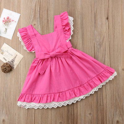 AU Toddler Baby Girl Princess Dress Fly Sleeves Lace Bowknot Party Tutu Dress