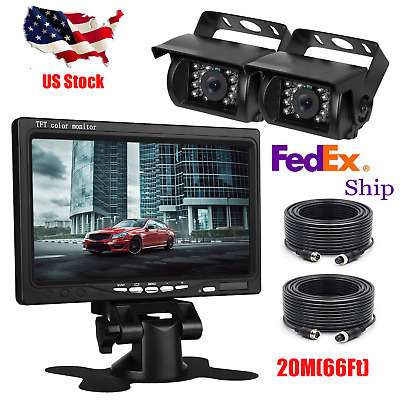 """7"""" Monitor + 2x Rear View Camera Night Vision System 66Ft For RV Truck Bus Crane"""