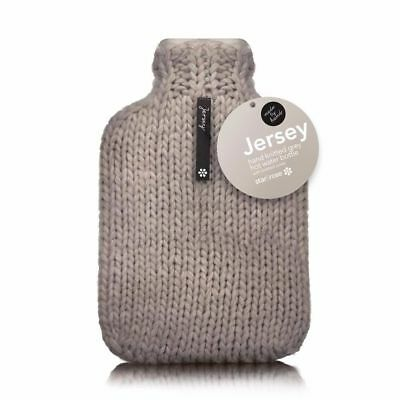 Hot Water Bottle Winter Warm Rubber Bag w knitted Cover Therapy Warmer Grey