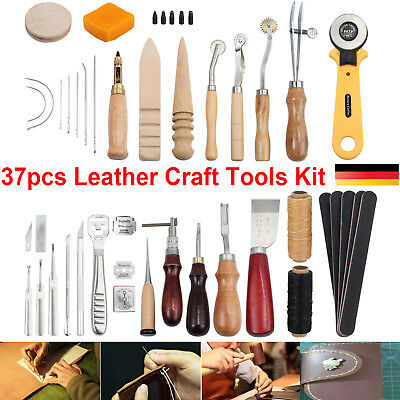 37stk Leder Werkzeug Leather Craft Hand Sewing Stitching Groover Tool Kits Set