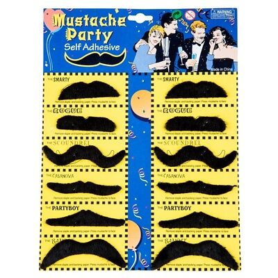 12 Pack Self Adhesive Assorted Fake Moustache / Mustache Set Fancy Dress Pa X5O2